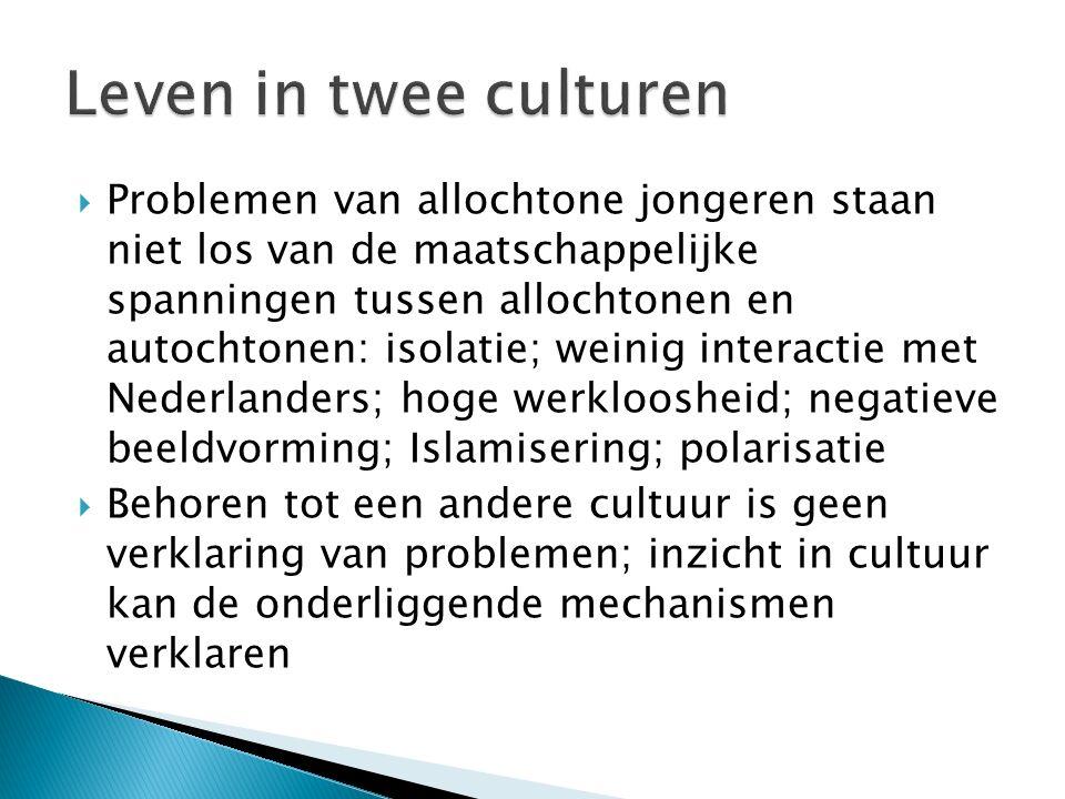  Problemen van allochtone jongeren staan niet los van de maatschappelijke spanningen tussen allochtonen en autochtonen: isolatie; weinig interactie met Nederlanders; hoge werkloosheid; negatieve beeldvorming; Islamisering; polarisatie  Behoren tot een andere cultuur is geen verklaring van problemen; inzicht in cultuur kan de onderliggende mechanismen verklaren