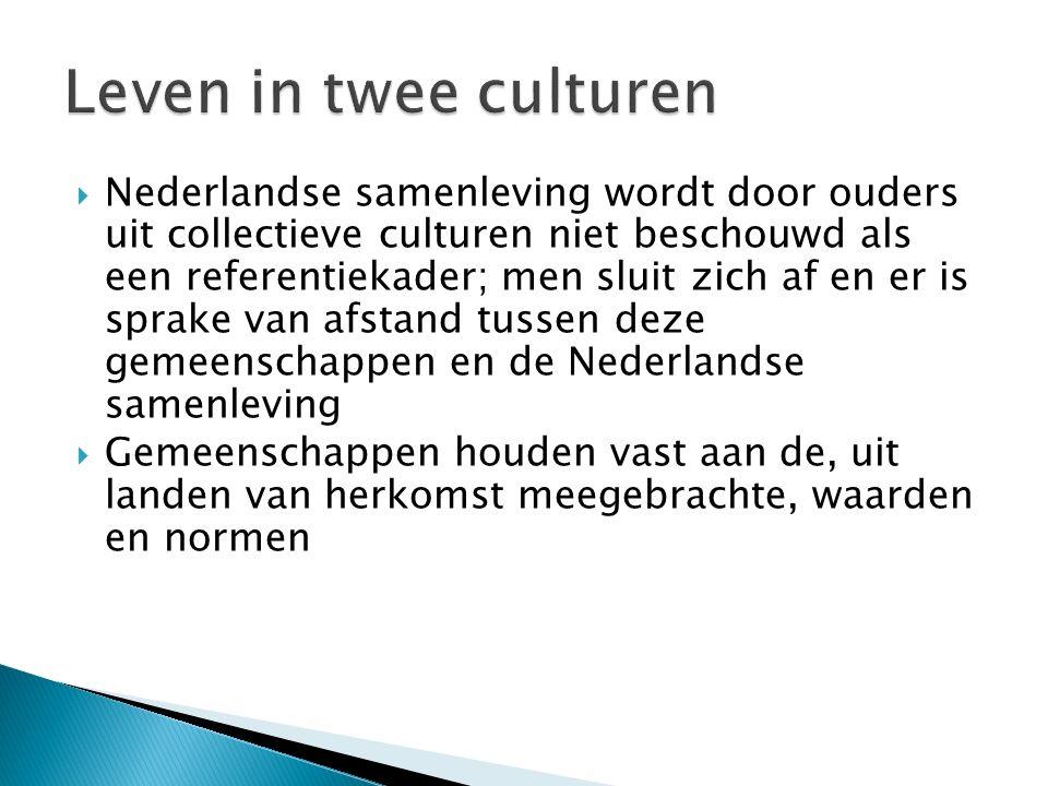  Nederlandse samenleving wordt door ouders uit collectieve culturen niet beschouwd als een referentiekader; men sluit zich af en er is sprake van afstand tussen deze gemeenschappen en de Nederlandse samenleving  Gemeenschappen houden vast aan de, uit landen van herkomst meegebrachte, waarden en normen