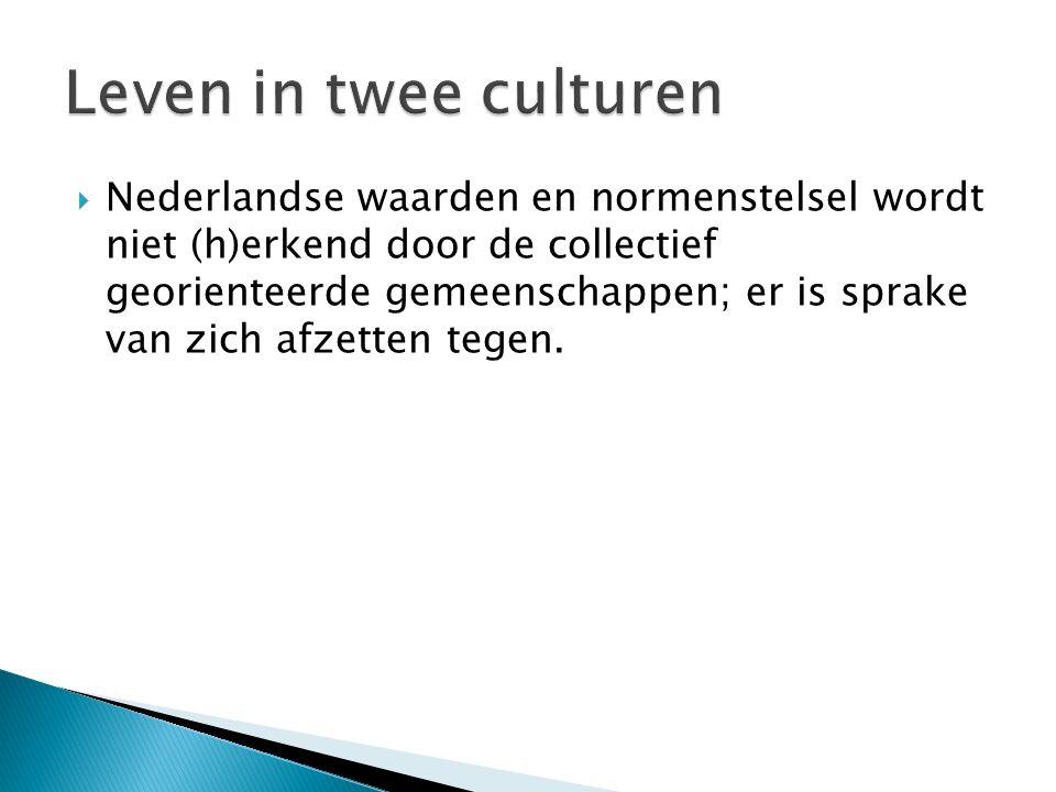 Nederlandse waarden en normenstelsel wordt niet (h)erkend door de collectief georienteerde gemeenschappen; er is sprake van zich afzetten tegen.