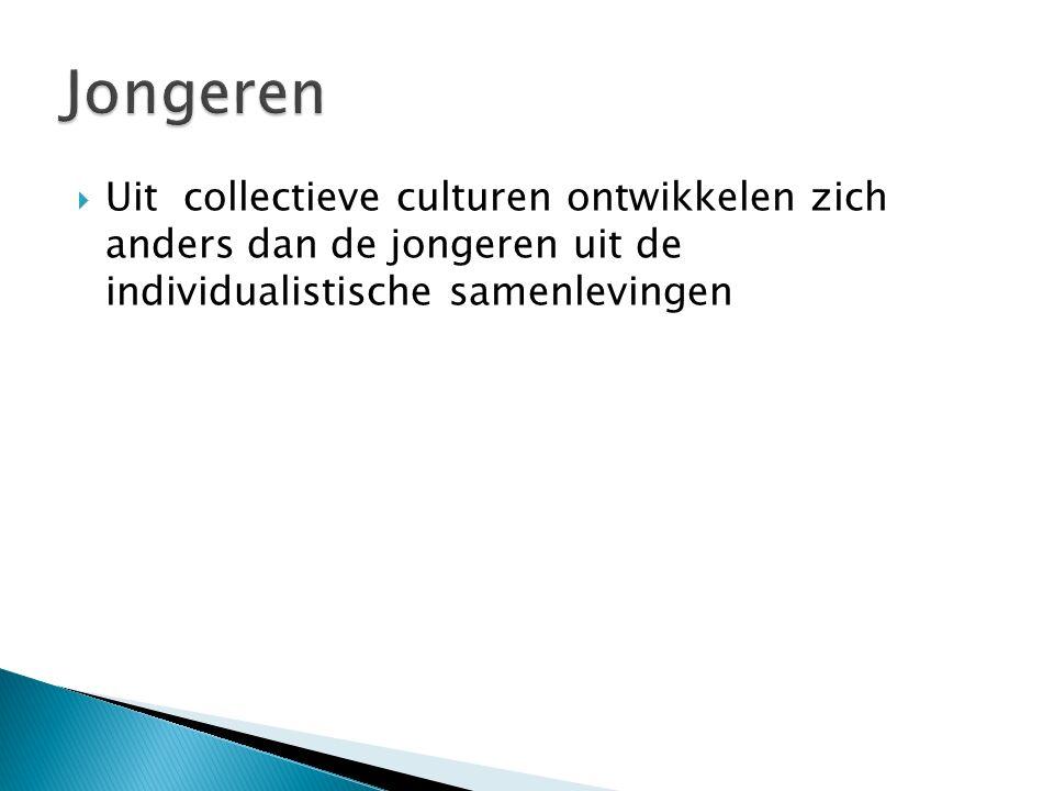  Uit collectieve culturen ontwikkelen zich anders dan de jongeren uit de individualistische samenlevingen