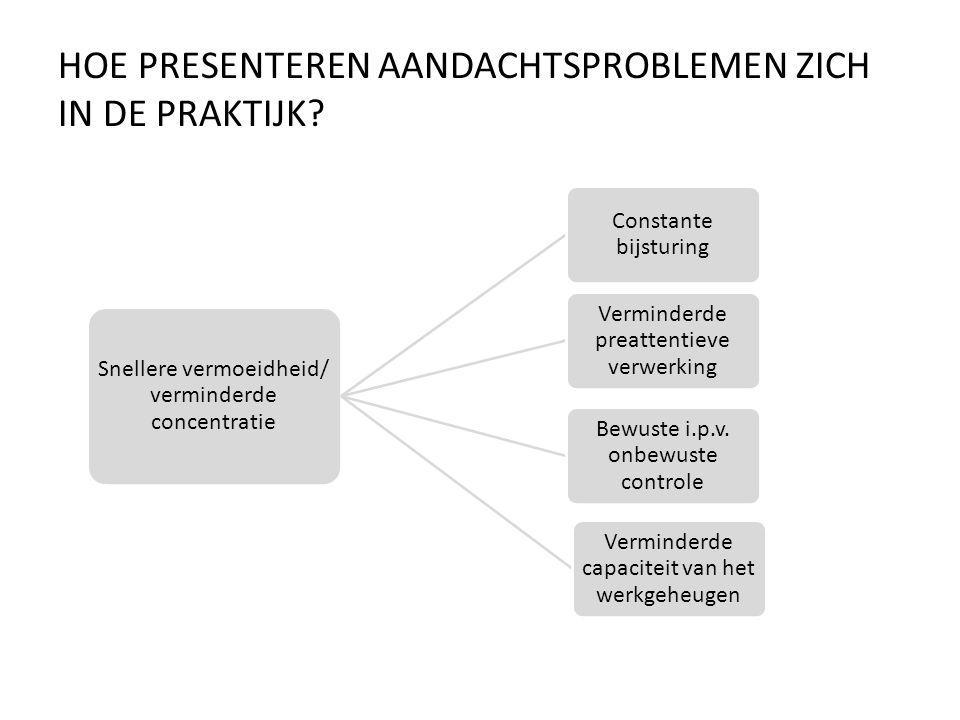 HOE PRESENTEREN AANDACHTSPROBLEMEN ZICH IN DE PRAKTIJK? Snellere vermoeidheid/ verminderde concentratie Constante bijsturing Verminderde preattentieve
