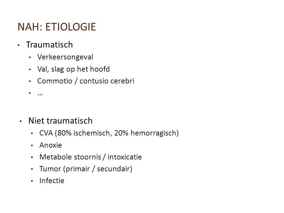 NAH: ETIOLOGIE Traumatisch Verkeersongeval Val, slag op het hoofd Commotio / contusio cerebri … Niet traumatisch CVA (80% ischemisch, 20% hemorragisch