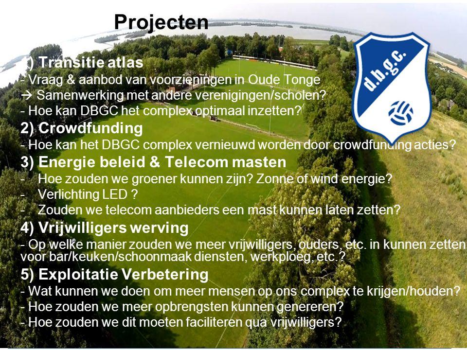  Projecten 1) Transitie atlas - Vraag & aanbod van voorzieningen in Oude Tonge  Samenwerking met andere verenigingen/scholen.
