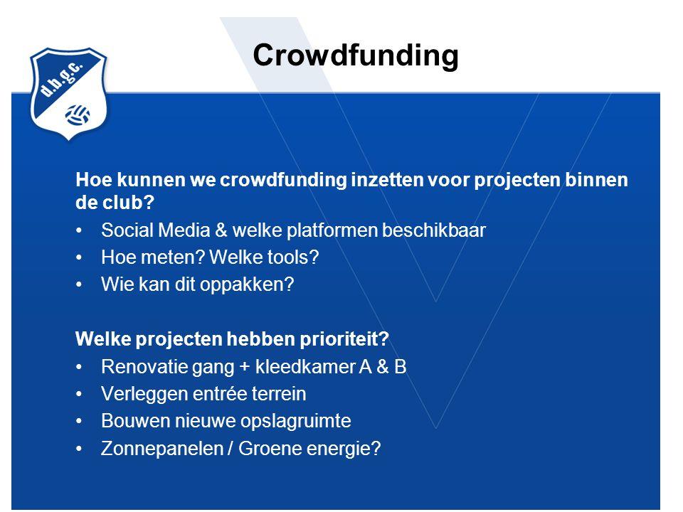 Crowdfunding Hoe kunnen we crowdfunding inzetten voor projecten binnen de club.