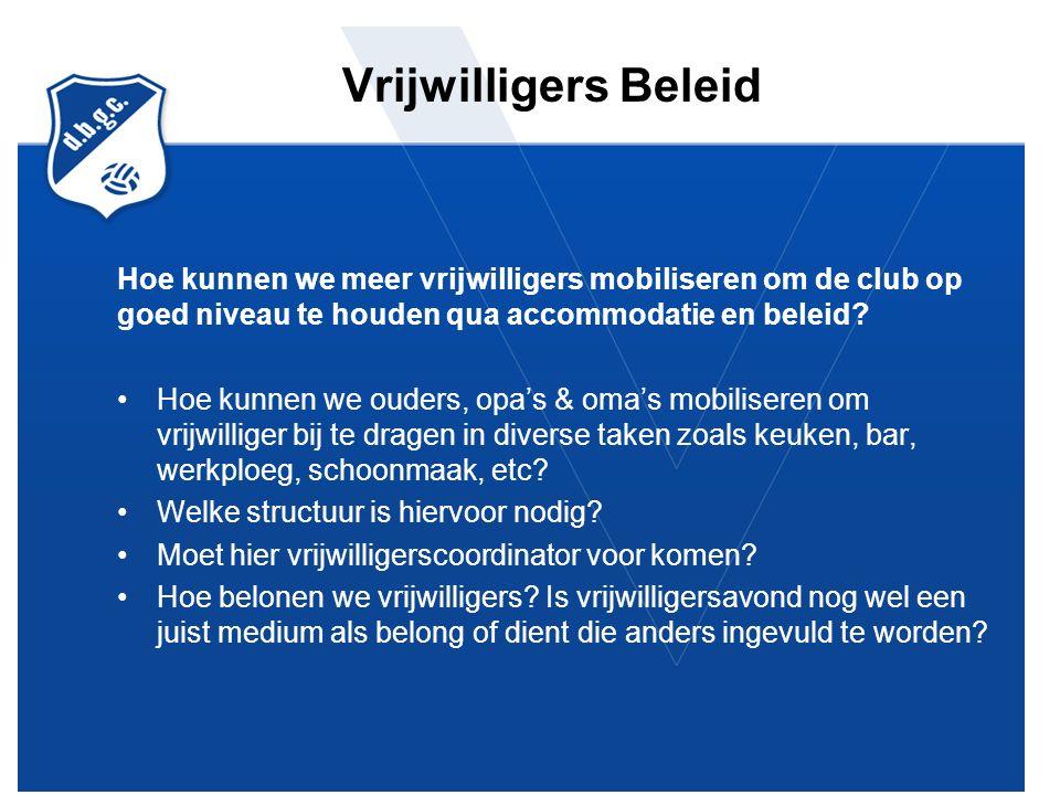 Vrijwilligers Beleid Hoe kunnen we meer vrijwilligers mobiliseren om de club op goed niveau te houden qua accommodatie en beleid.