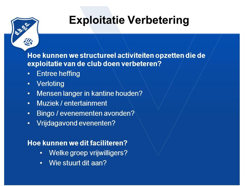 Exploitatie Verbetering Hoe kunnen we structureel activiteiten opzetten die de exploitatie van de club doen verbeteren.