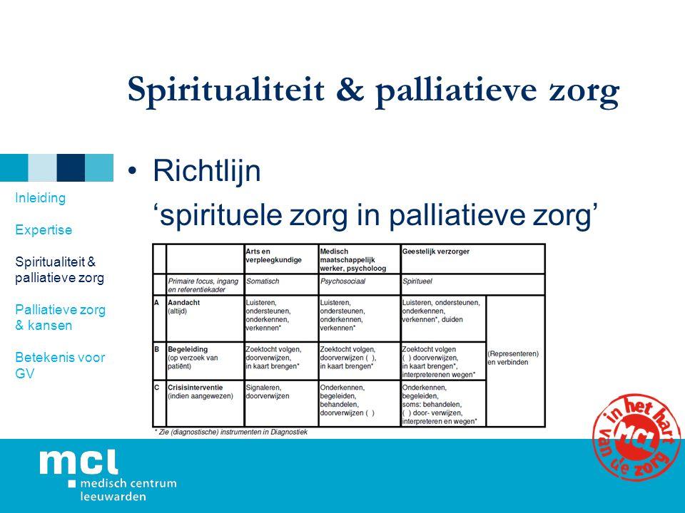 Spiritualiteit & palliatieve zorg Richtlijn 'spirituele zorg in palliatieve zorg' Inleiding Expertise Spiritualiteit & palliatieve zorg Palliatieve zorg & kansen Betekenis voor GV