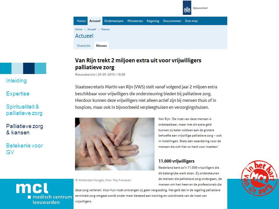 Inleiding Expertise Spiritualiteit & palliatieve zorg Palliatieve zorg & kansen Betekenis voor GV