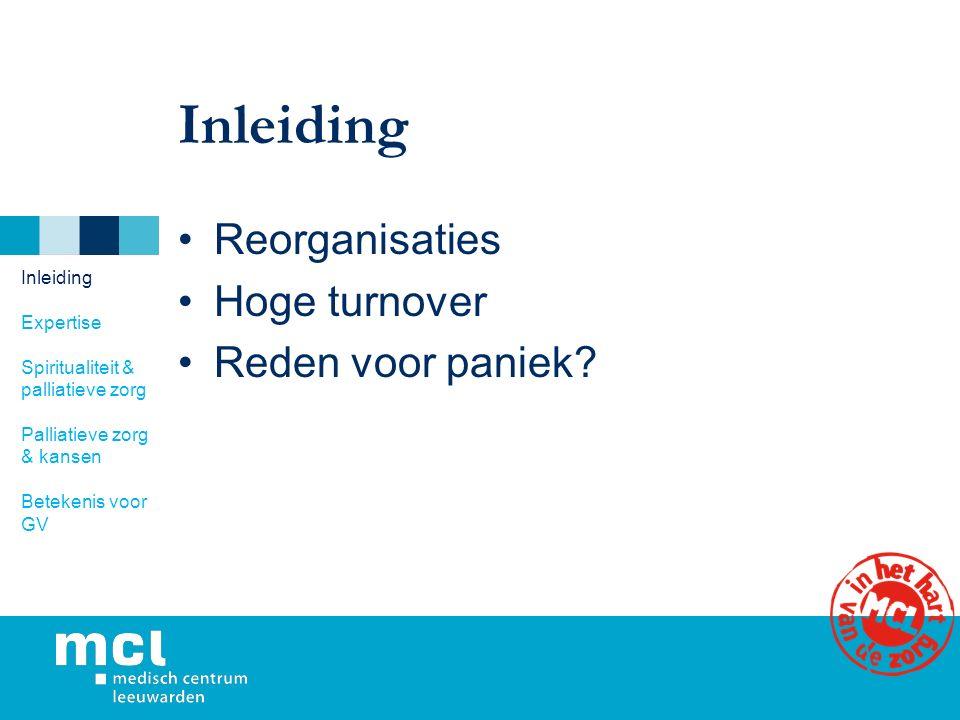 Inleiding Reorganisaties Hoge turnover Reden voor paniek.