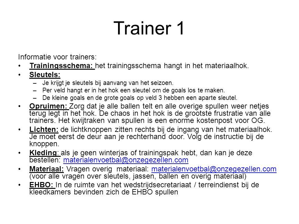 Trainer 1 Informatie voor trainers: Trainingsschema: het trainingsschema hangt in het materiaalhok.