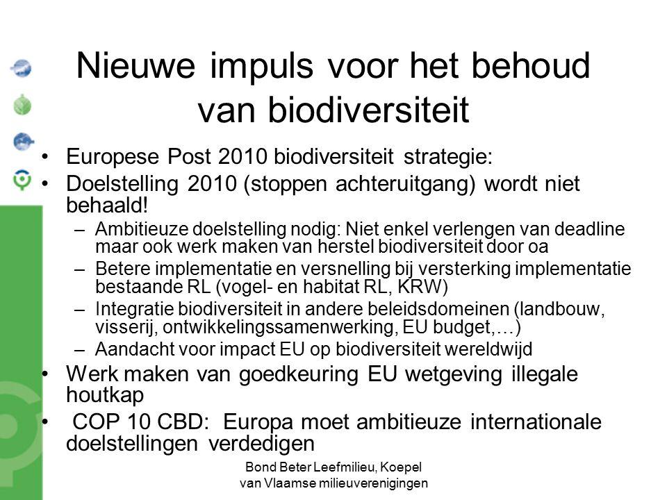 Bond Beter Leefmilieu, Koepel van Vlaamse milieuverenigingen Nieuwe impuls voor het behoud van biodiversiteit Europese Post 2010 biodiversiteit strategie: Doelstelling 2010 (stoppen achteruitgang) wordt niet behaald.