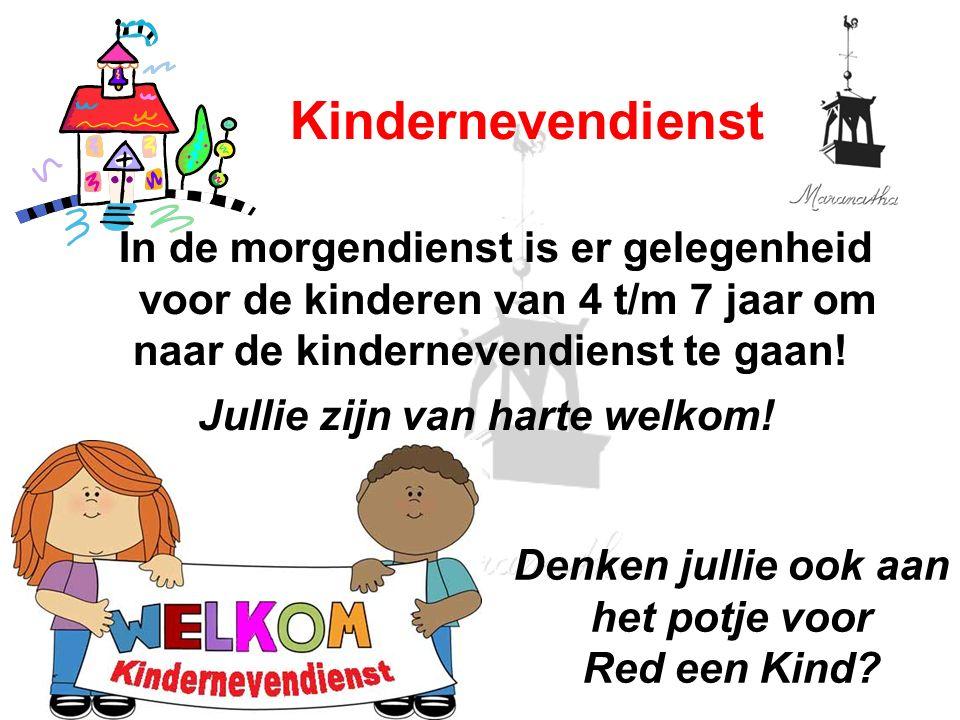 In de morgendienst is er gelegenheid voor de kinderen van 4 t/m 7 jaar om naar de kindernevendienst te gaan.