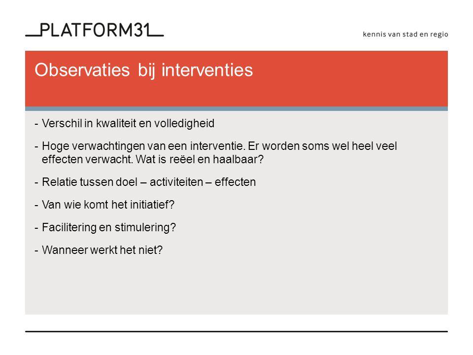 Observaties bij interventies -Verschil in kwaliteit en volledigheid -Hoge verwachtingen van een interventie.