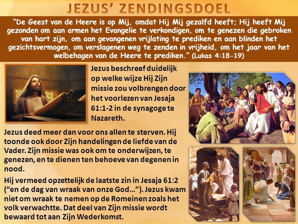 De Geest van de Heere is op Mij, omdat Hij Mij gezalfd heeft; Hij heeft Mij gezonden om aan armen het Evangelie te verkondigen, om te genezen die gebroken van hart zijn, om aan gevangenen vrijlating te prediken en aan blinden het gezichtsvermogen, om verslagenen weg te zenden in vrijheid, om het jaar van het welbehagen van de Heere te prediken. (Lukas 4:18-19) Jezus deed meer dan voor ons allen te sterven.