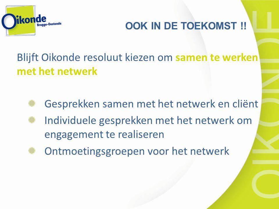 Blijft Oikonde resoluut kiezen om samen te werken met het netwerk Gesprekken samen met het netwerk en cliënt Individuele gesprekken met het netwerk om engagement te realiseren Ontmoetingsgroepen voor het netwerk OOK IN DE TOEKOMST !!