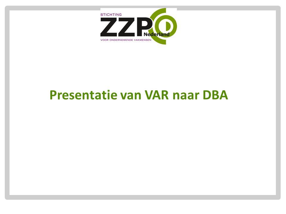 Presentatie van VAR naar DBA