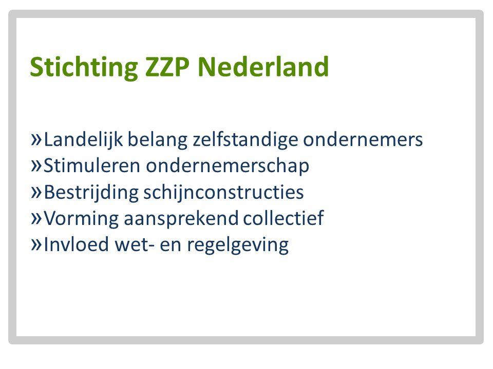 Stichting ZZP Nederland  Landelijk belang zelfstandige ondernemers  Stimuleren ondernemerschap  Bestrijding schijnconstructies  Vorming aanspreken