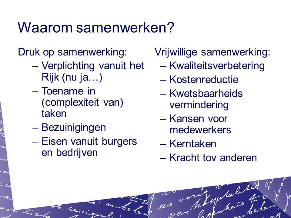 Verder lezen/kijken Basisinformatie: –https://www.rijksoverheid.nl/onderwerpen/gemeenten/inhoud/inte rgemeentelijke-samenwerkinghttps://www.rijksoverheid.nl/onderwerpen/gemeenten/inhoud/inte rgemeentelijke-samenwerking –https://vng.nl/producten-diensten/diensten/slim-samenwerkenhttps://vng.nl/producten-diensten/diensten/slim-samenwerken –https://vng.nl/onderwerpenindex/bestuur/gemeentelijke- samenwerkinghttps://vng.nl/onderwerpenindex/bestuur/gemeentelijke- samenwerking Handig: –http://www.regioatlas.nl/http://www.regioatlas.nl/ –http://www.sharedservicesbijdeoverheid.nl/http://www.sharedservicesbijdeoverheid.nl/ –http://www.waarstaatjegemeente.nl/http://www.waarstaatjegemeente.nl/ –VNG Juridisch: https://www.vngcongressen.nl/media/222527/Deelsessie%2034 %20Intergemeentelijke%20samenwerking%20en%20de%20Nie uwe%20Wgr.pdf https://www.vngcongressen.nl/media/222527/Deelsessie%2034 %20Intergemeentelijke%20samenwerking%20en%20de%20Nie uwe%20Wgr.pdf