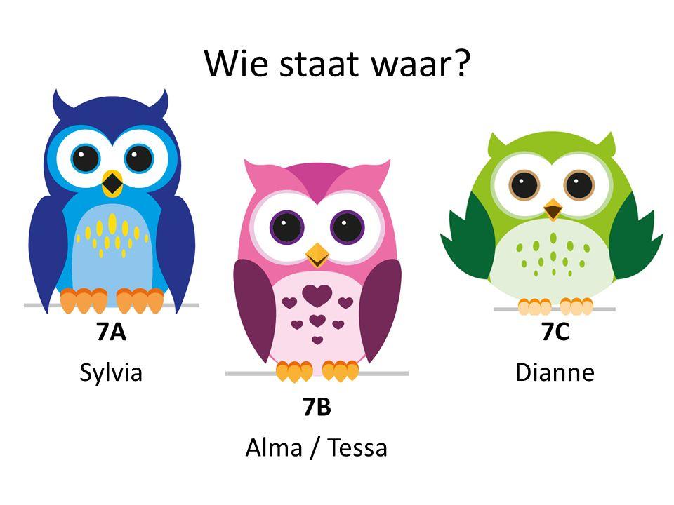 Wie staat waar 7B Alma / Tessa 7A Sylvia 7C Dianne