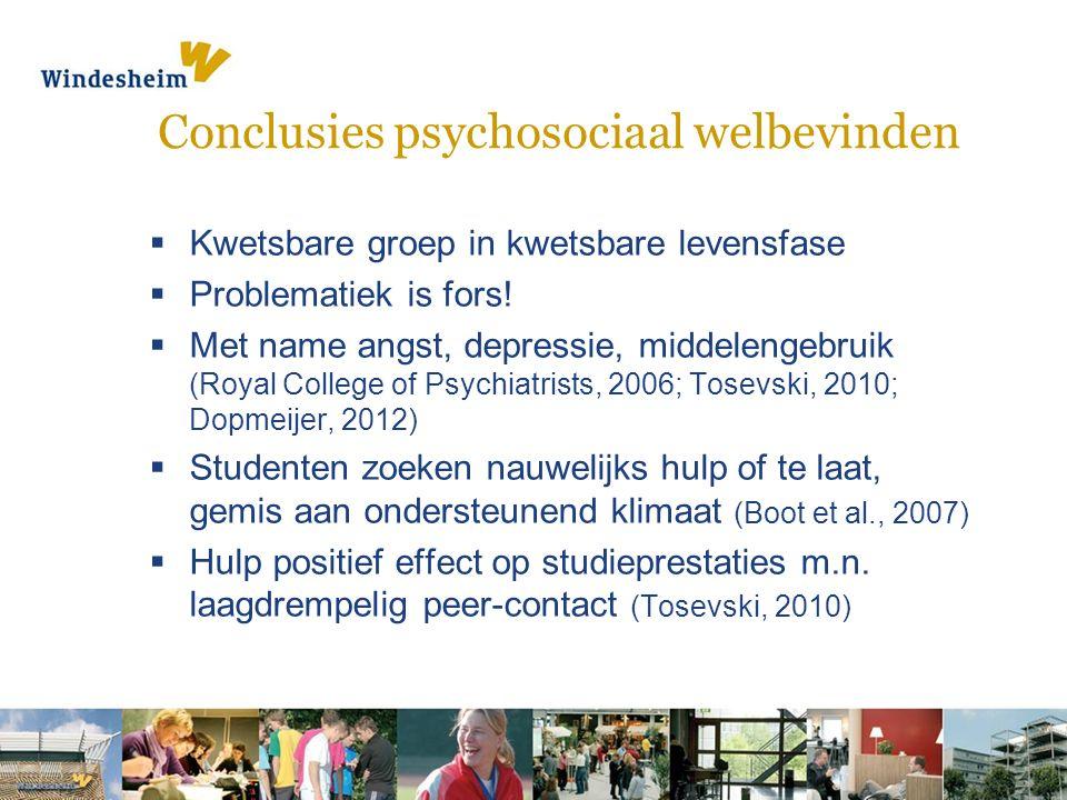 Conclusies psychosociaal welbevinden  Kwetsbare groep in kwetsbare levensfase  Problematiek is fors.