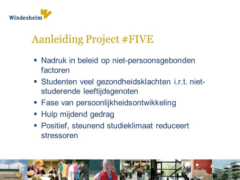 Aanleiding Project #FIVE  Nadruk in beleid op niet-persoonsgebonden factoren  Studenten veel gezondheidsklachten i.r.t.