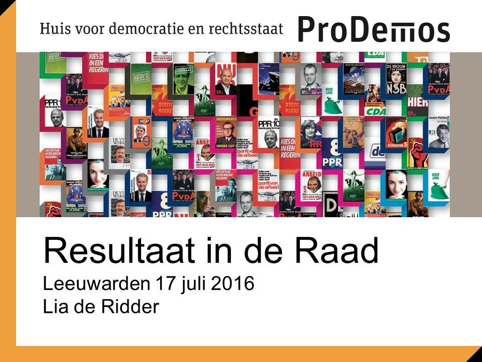 Resultaat in de Raad Leeuwarden 17 juli 2016 Lia de Ridder Ruimte voor beeld 21,6 x 8,7 cm