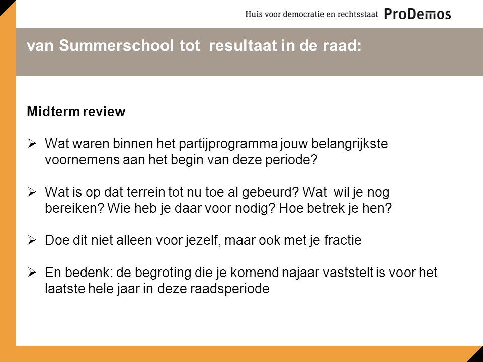van Summerschool tot resultaat in de raad: Midterm review  Wat waren binnen het partijprogramma jouw belangrijkste voornemens aan het begin van deze periode.