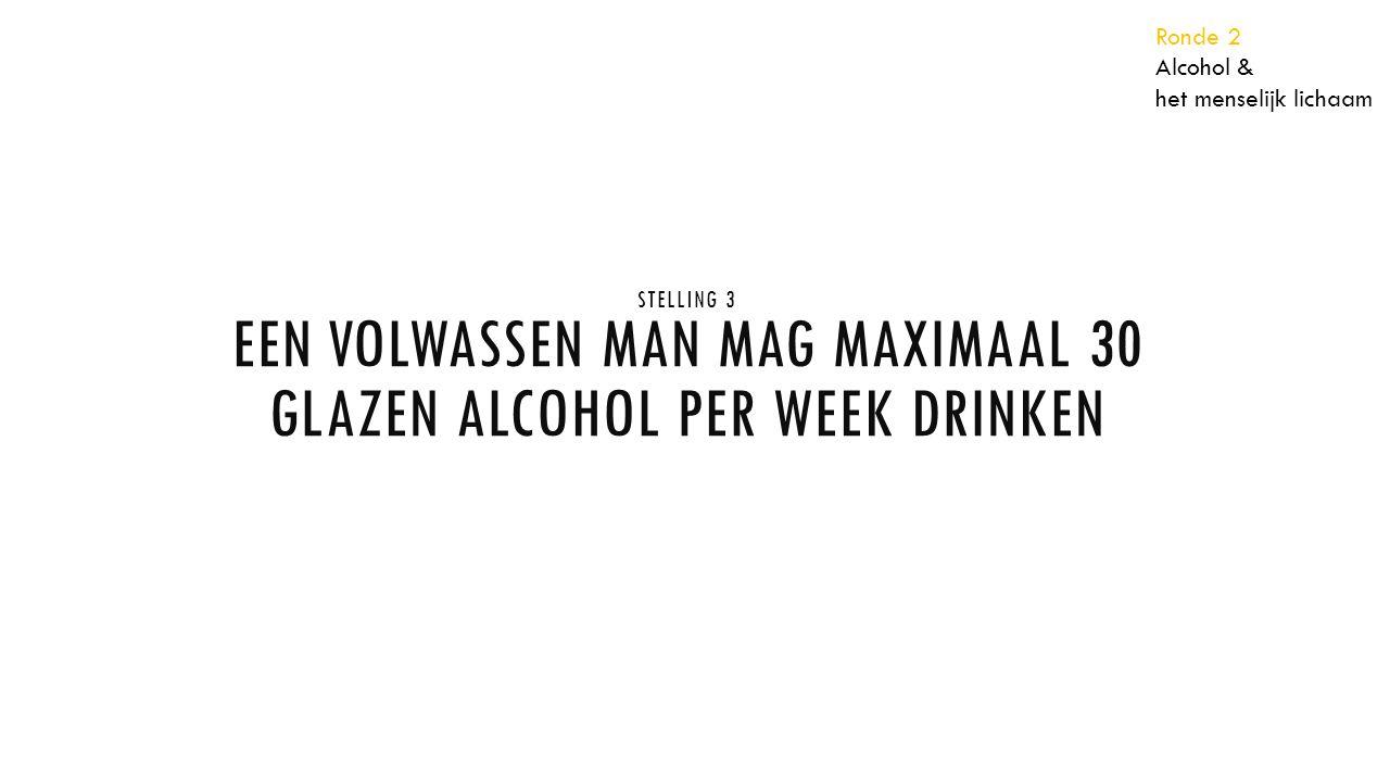 STELLING 3 EEN VOLWASSEN MAN MAG MAXIMAAL 30 GLAZEN ALCOHOL PER WEEK DRINKEN Ronde 2 Alcohol & het menselijk lichaam
