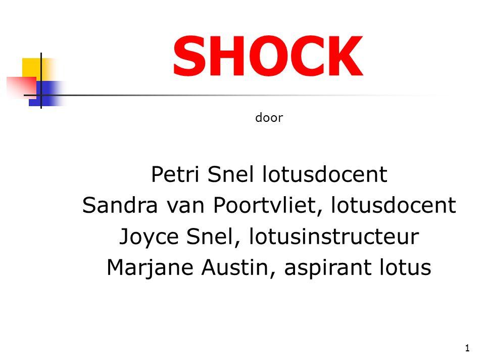 1 SHOCK door Petri Snel lotusdocent Sandra van Poortvliet, lotusdocent Joyce Snel, lotusinstructeur Marjane Austin, aspirant lotus