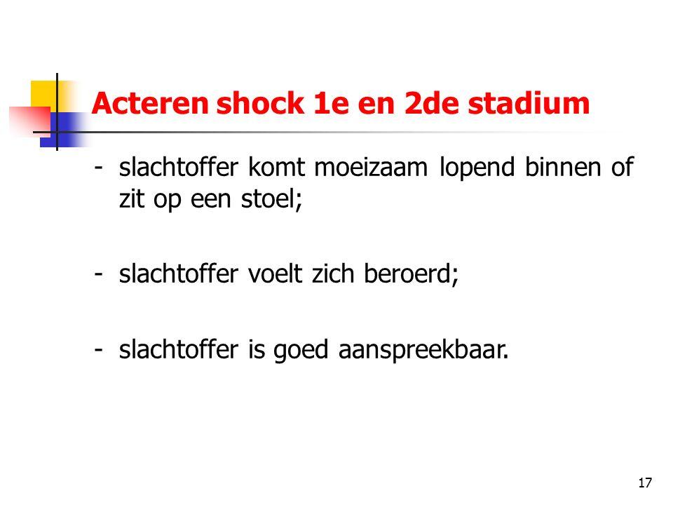 17 Acteren shock 1e en 2de stadium -slachtoffer komt moeizaam lopend binnen of zit op een stoel; -slachtoffer voelt zich beroerd; -slachtoffer is goed