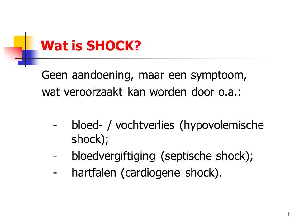 14 2e stadium (compensatiestadium) vervolg: - pols: - deze is vaak zwak voelbaar en versneld; - bij meting zal er een lage bloeddruk te zien zijn;