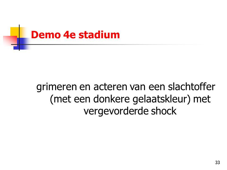 33 Demo 4e stadium grimeren en acteren van een slachtoffer (met een donkere gelaatskleur) met vergevorderde shock