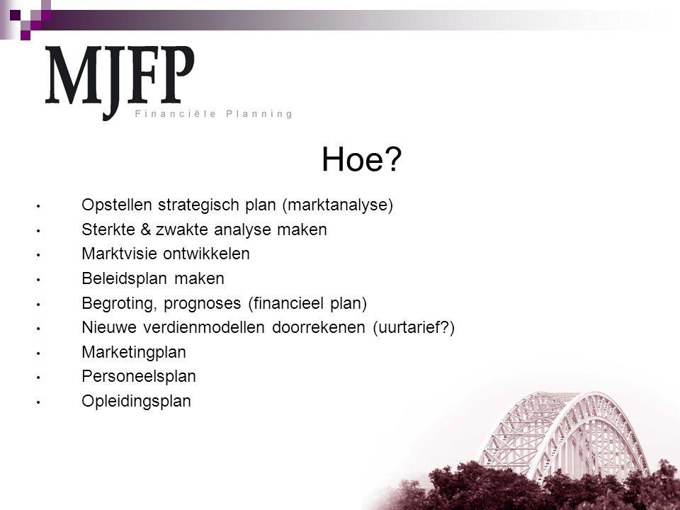 Hoe? Opstellen strategisch plan (marktanalyse) Sterkte & zwakte analyse maken Marktvisie ontwikkelen Beleidsplan maken Begroting, prognoses (financiee