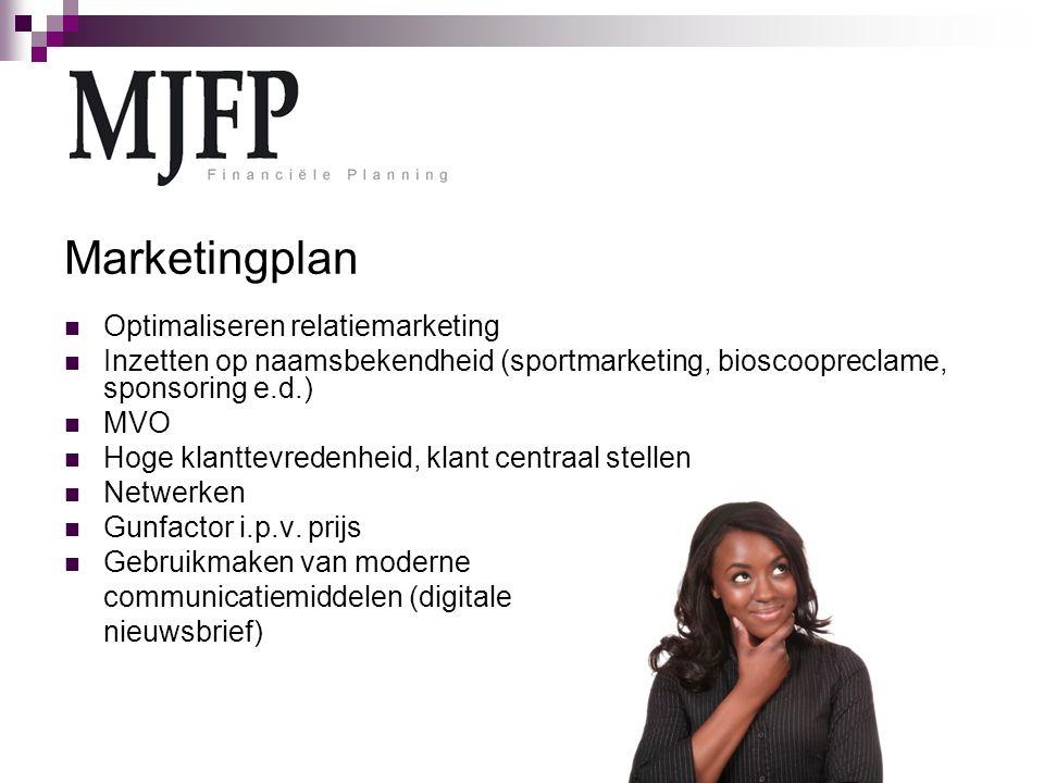 Marketingplan Optimaliseren relatiemarketing Inzetten op naamsbekendheid (sportmarketing, bioscoopreclame, sponsoring e.d.) MVO Hoge klanttevredenheid, klant centraal stellen Netwerken Gunfactor i.p.v.