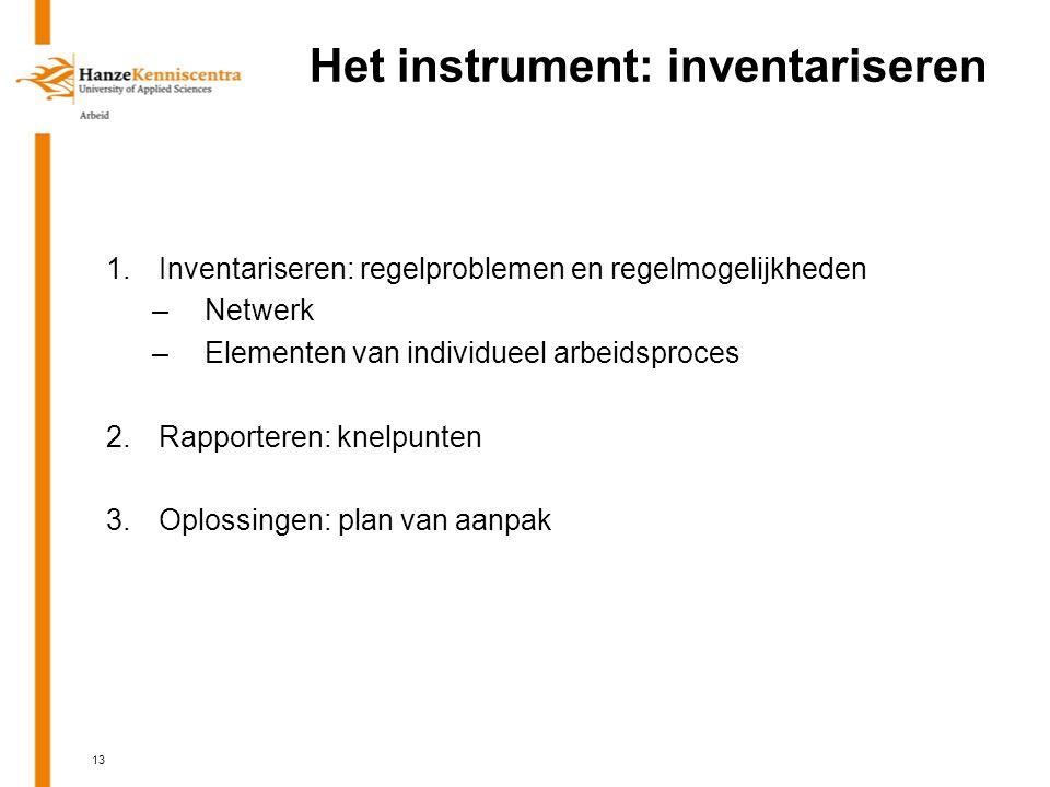 Het instrument: inventariseren 1.Inventariseren: regelproblemen en regelmogelijkheden –Netwerk –Elementen van individueel arbeidsproces 2.Rapporteren: knelpunten 3.Oplossingen: plan van aanpak 13