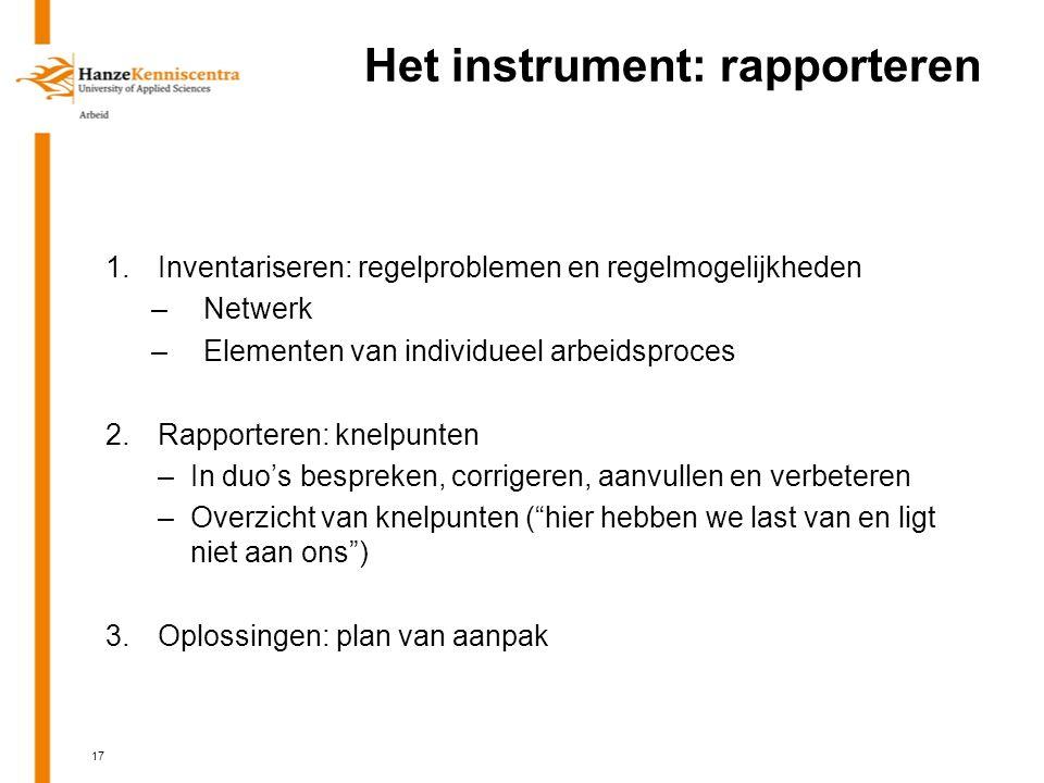 Het instrument: rapporteren 1.Inventariseren: regelproblemen en regelmogelijkheden –Netwerk –Elementen van individueel arbeidsproces 2.Rapporteren: knelpunten –In duo's bespreken, corrigeren, aanvullen en verbeteren –Overzicht van knelpunten ( hier hebben we last van en ligt niet aan ons ) 3.Oplossingen: plan van aanpak 17