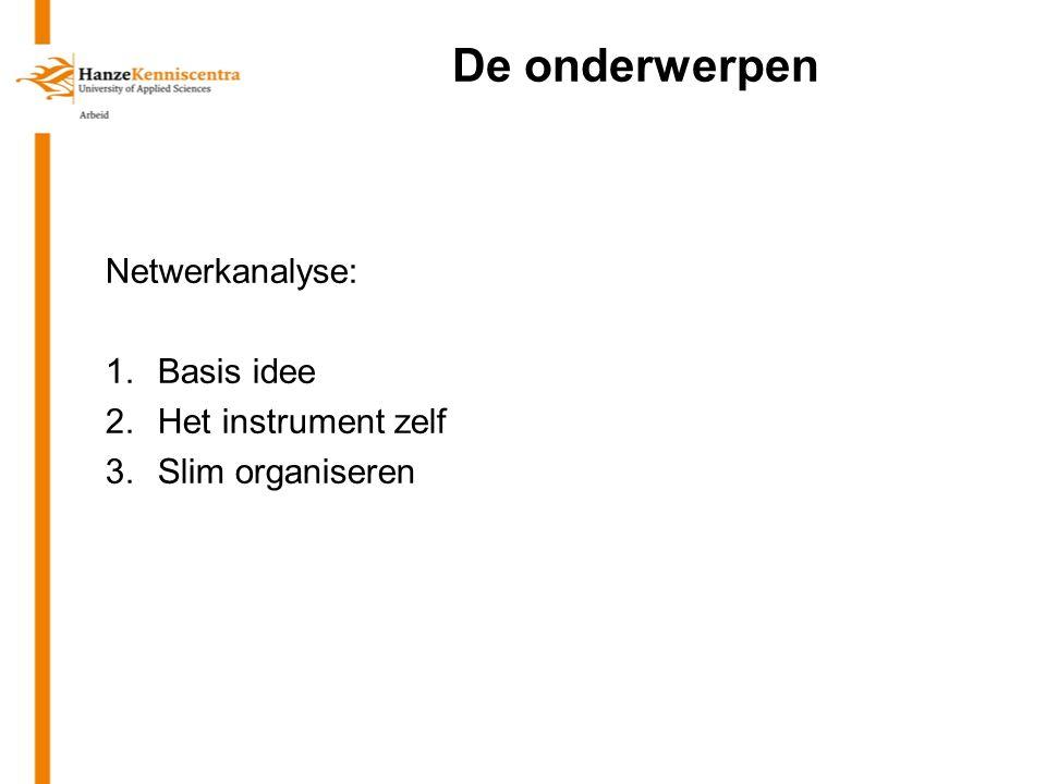 De onderwerpen Netwerkanalyse: 1.Basis idee 2.Het instrument zelf 3.Slim organiseren