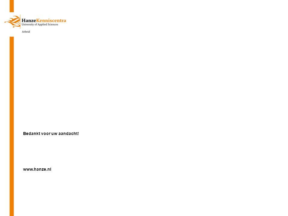 Bedankt voor uw aandacht! www.hanze.nl