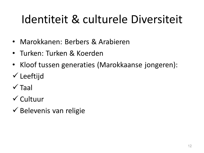 Identiteit & culturele Diversiteit Marokkanen: Berbers & Arabieren Turken: Turken & Koerden Kloof tussen generaties (Marokkaanse jongeren): Leeftijd Taal Cultuur Belevenis van religie 12