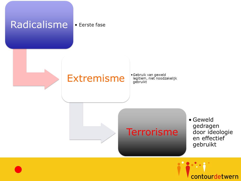 Radicalisme Eerste fase Extremisme Gebruik van geweld legitiem, niet noodzakelijk gebruikt Terrorisme Geweld gedragen door ideologie en effectief gebruikt