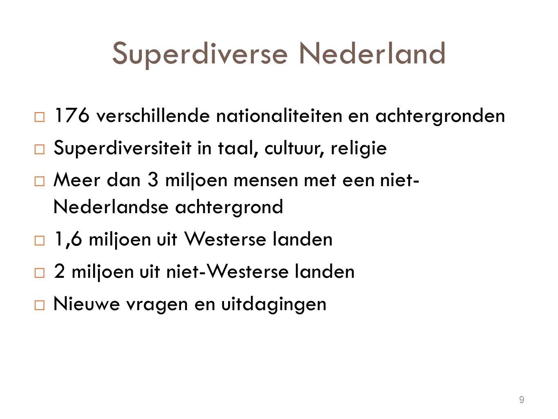 Superdiverse Nederland  176 verschillende nationaliteiten en achtergronden  Superdiversiteit in taal, cultuur, religie  Meer dan 3 miljoen mensen met een niet- Nederlandse achtergrond  1,6 miljoen uit Westerse landen  2 miljoen uit niet-Westerse landen  Nieuwe vragen en uitdagingen 9