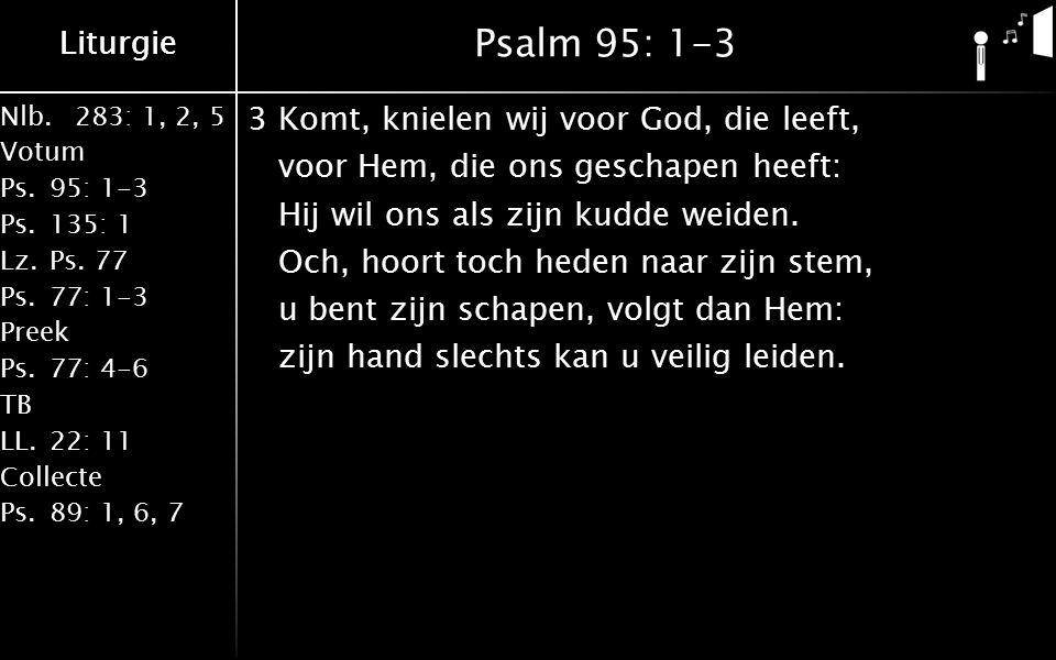 Liturgie Nlb.283: 1, 2, 5 Votum Ps.95: 1-3 Ps.135: 1 Lz.Ps. 77 Ps.77: 1-3 Preek Ps.77: 4-6 TB LL.22: 11 Collecte Ps.89: 1, 6, 7 Liturgie Psalm 95: 1-3