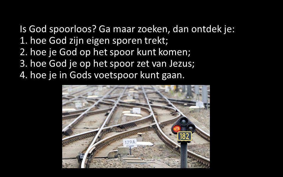 Is God spoorloos? Ga maar zoeken, dan ontdek je: 1. hoe God zijn eigen sporen trekt; 2. hoe je God op het spoor kunt komen; 3. hoe God je op het spoor