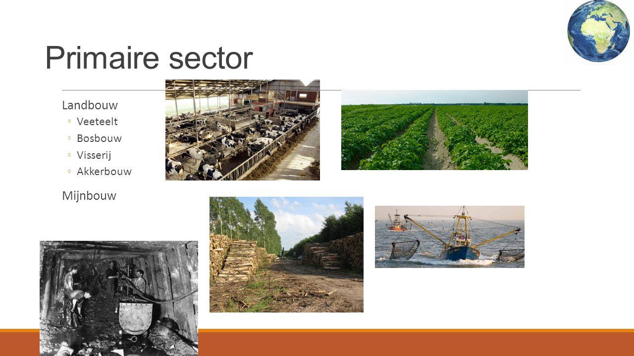 Primaire sector Landbouw ◦Veeteelt ◦Bosbouw ◦Visserij ◦Akkerbouw Mijnbouw