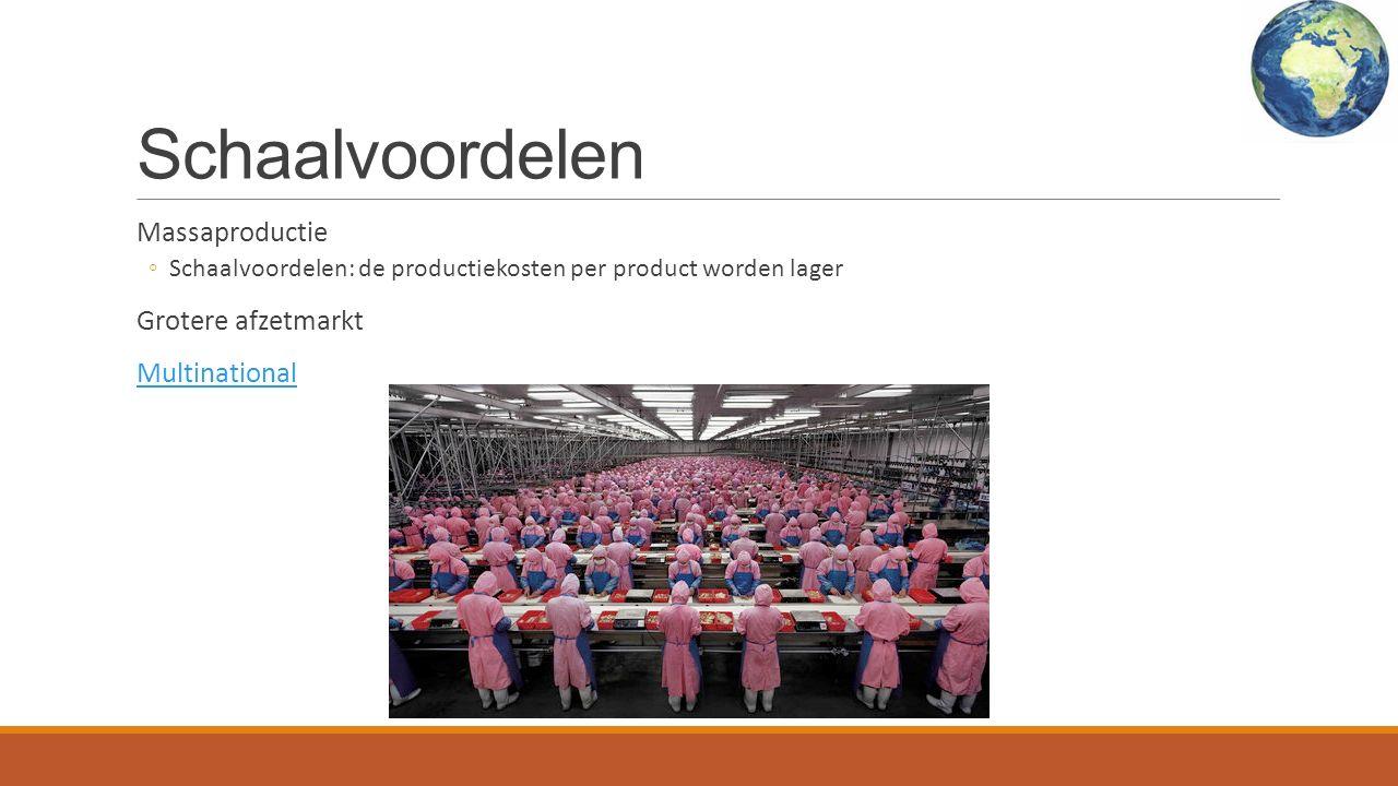 Schaalvoordelen Massaproductie ◦Schaalvoordelen: de productiekosten per product worden lager Grotere afzetmarkt Multinational
