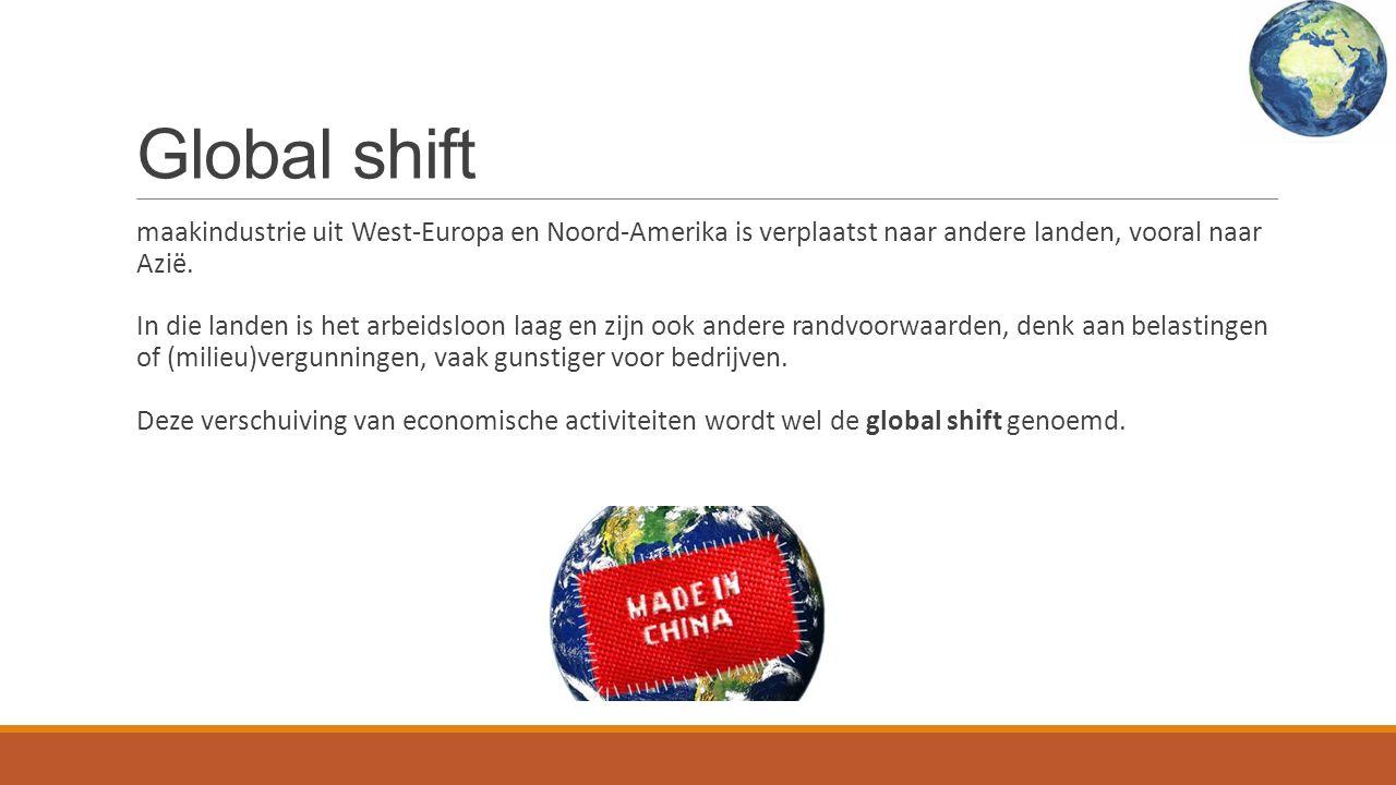 Global shift maakindustrie uit West-Europa en Noord-Amerika is verplaatst naar andere landen, vooral naar Azië.