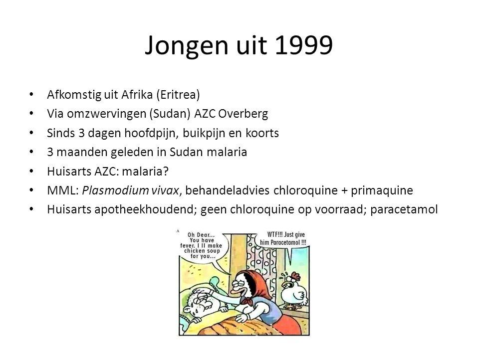 Jongen uit 1999 Afkomstig uit Afrika (Eritrea) Via omzwervingen (Sudan) AZC Overberg Sinds 3 dagen hoofdpijn, buikpijn en koorts 3 maanden geleden in