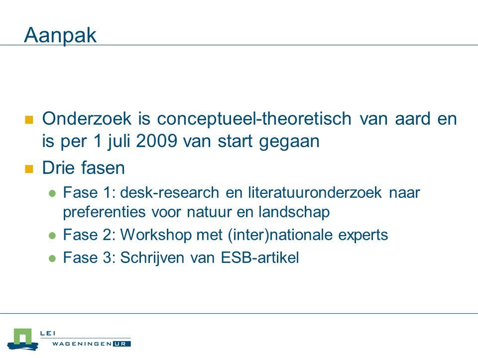 Aanpak Onderzoek is conceptueel-theoretisch van aard en is per 1 juli 2009 van start gegaan Drie fasen Fase 1: desk-research en literatuuronderzoek naar preferenties voor natuur en landschap Fase 2: Workshop met (inter)nationale experts Fase 3: Schrijven van ESB-artikel