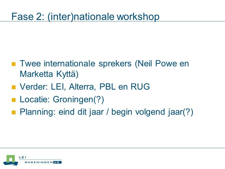 Fase 2: (inter)nationale workshop Twee internationale sprekers (Neil Powe en Marketta Kyttä) Verder: LEI, Alterra, PBL en RUG Locatie: Groningen( ) Planning: eind dit jaar / begin volgend jaar( )