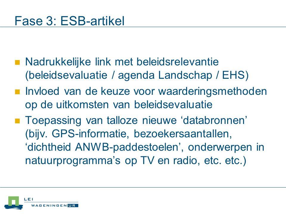 Fase 3: ESB-artikel Nadrukkelijke link met beleidsrelevantie (beleidsevaluatie / agenda Landschap / EHS) Invloed van de keuze voor waarderingsmethoden op de uitkomsten van beleidsevaluatie Toepassing van talloze nieuwe 'databronnen' (bijv.
